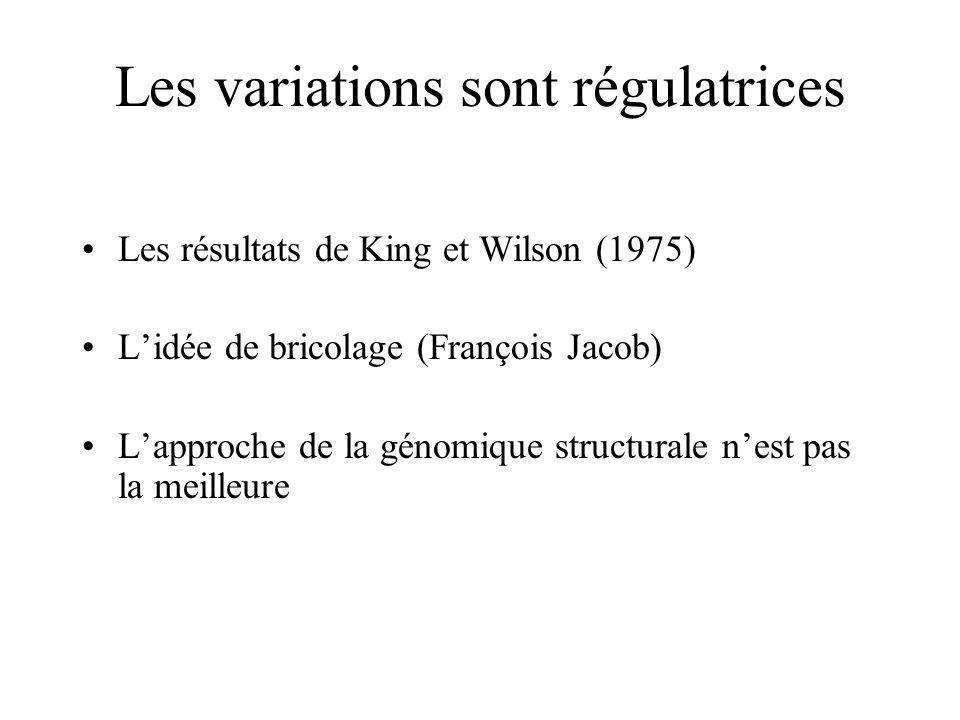 Les variations sont régulatrices Les résultats de King et Wilson (1975) Lidée de bricolage (François Jacob) Lapproche de la génomique structurale nest