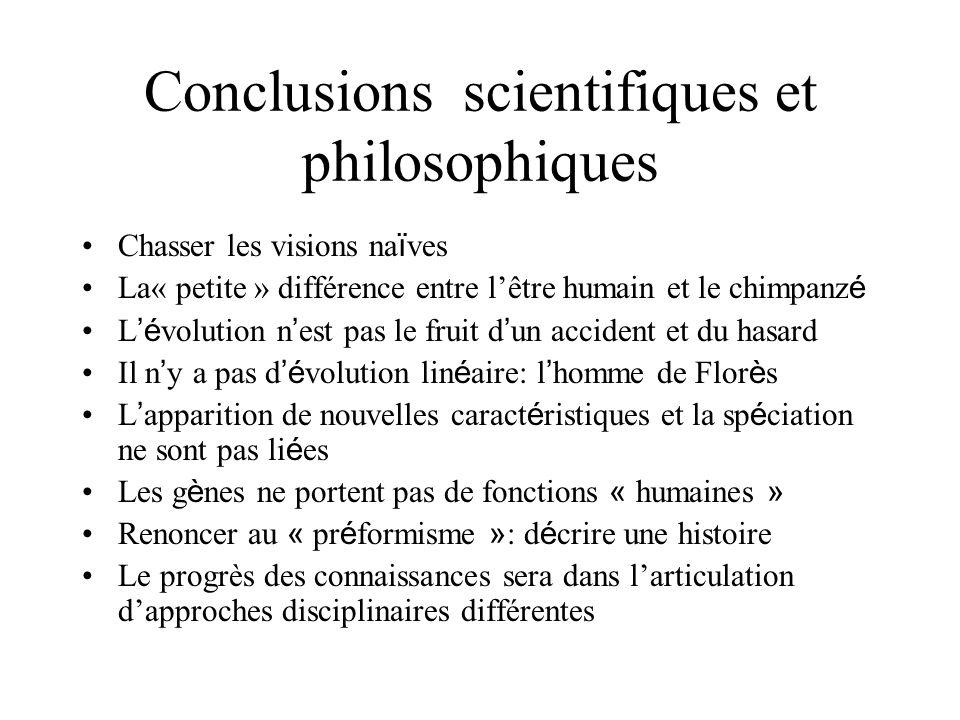 Conclusions scientifiques et philosophiques Chasser les visions na ï ves La« petite » différence entre lêtre humain et le chimpanz é L é volution n es