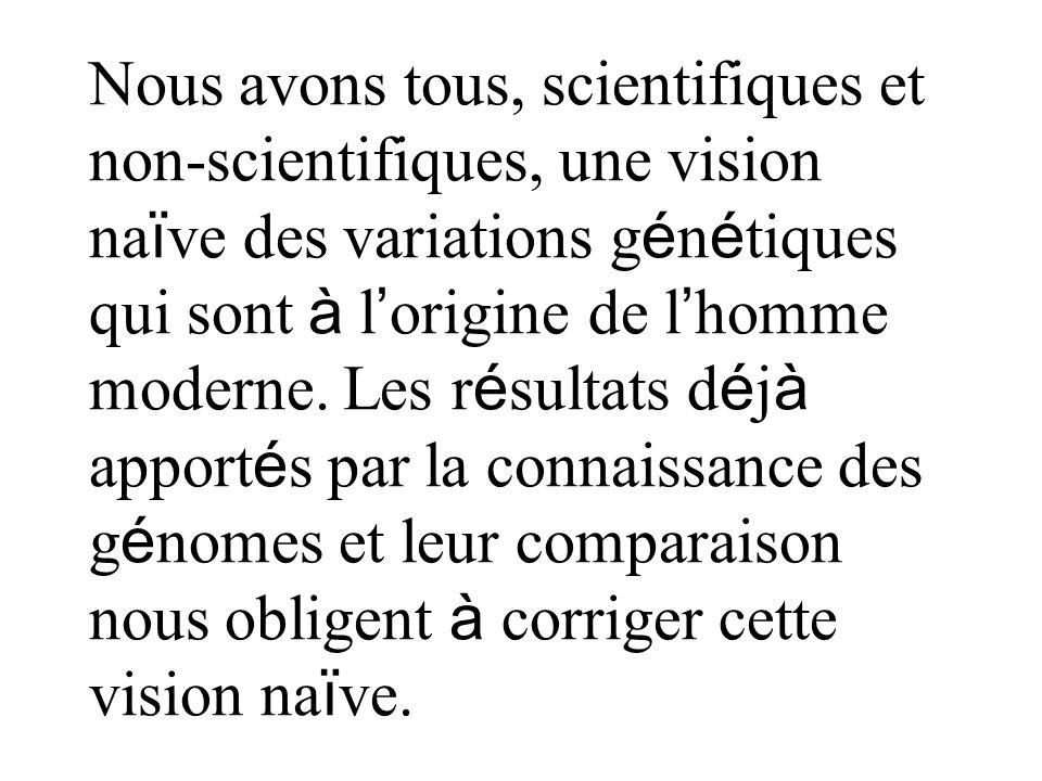 Nous avons tous, scientifiques et non-scientifiques, une vision na ï ve des variations g é n é tiques qui sont à l origine de l homme moderne. Les r é