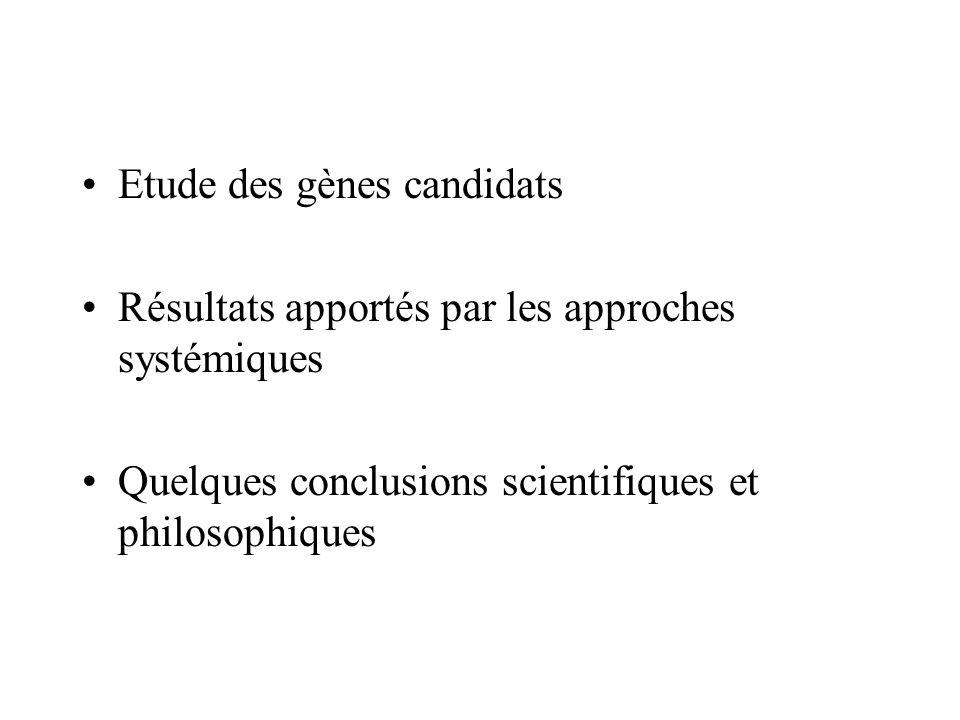 Etude des gènes candidats Résultats apportés par les approches systémiques Quelques conclusions scientifiques et philosophiques