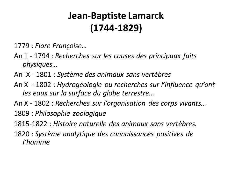 Jean-Baptiste Lamarck (1744-1829) 1779 : Flore Françoise… An II - 1794 : Recherches sur les causes des principaux faits physiques… An IX - 1801 : Syst