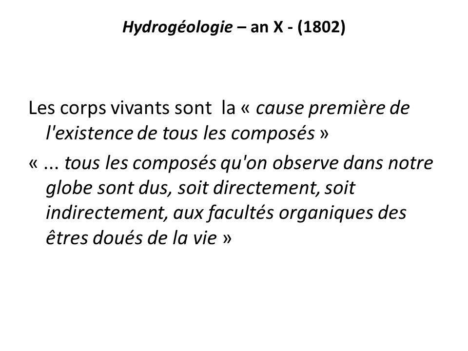 Hydrogéologie – an X - (1802) Les corps vivants sont la « cause première de l'existence de tous les composés » «... tous les composés qu'on observe da