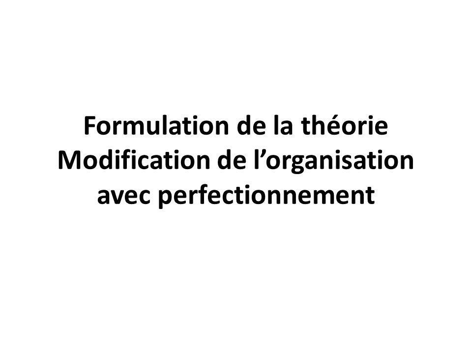 Formulation de la théorie Modification de lorganisation avec perfectionnement