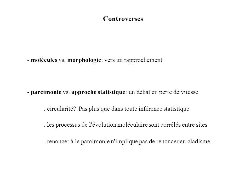 Controverses - molécules vs.morphologie: vers un rapprochement - parcimonie vs.