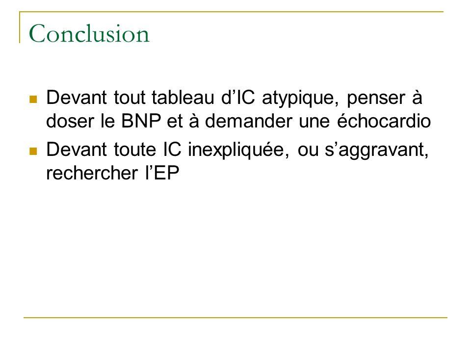 Conclusion Devant tout tableau dIC atypique, penser à doser le BNP et à demander une échocardio Devant toute IC inexpliquée, ou saggravant, rechercher