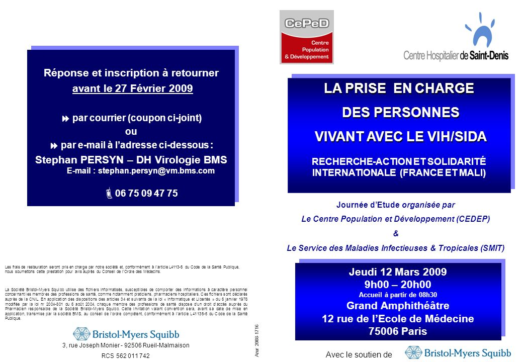 LA PRISE EN CHARGE DES PERSONNES DES PERSONNES VIVANT AVEC LE VIH/SIDA VIVANT AVEC LE VIH/SIDA RECHERCHE-ACTION ET SOLIDARITÉ INTERNATIONALE (FRANCE E