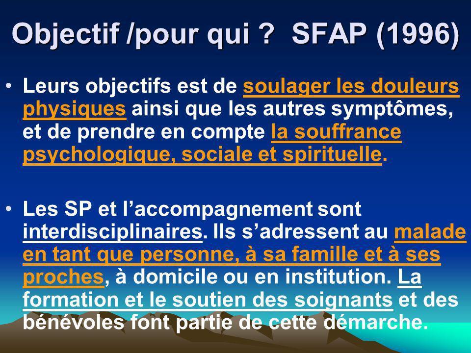 Objectif /pour qui ? SFAP (1996) Leurs objectifs est de soulager les douleurs physiques ainsi que les autres symptômes, et de prendre en compte la sou