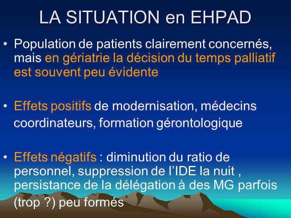 LA SITUATION en EHPAD Population de patients clairement concernés, mais en gériatrie la décision du temps palliatif est souvent peu évidente Effets po