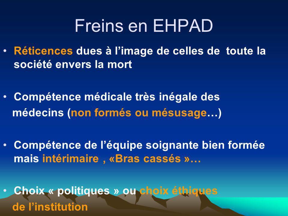 Freins en EHPAD Réticences dues à limage de celles de toute la société envers la mort Compétence médicale très inégale des médecins (non formés ou més
