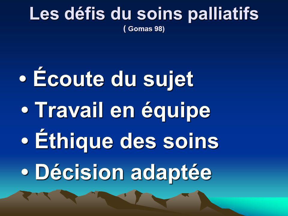 Les défis du soins palliatifs ( Gomas 98) Écoute du sujet Écoute du sujet Travail en équipe Travail en équipe Éthique des soins Éthique des soins Déci