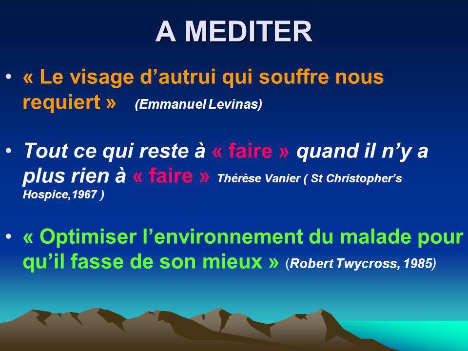 A MEDITER « Le visage dautrui qui souffre nous requiert » (Emmanuel Levinas) Tout ce qui reste à « faire » quand il ny a plus rien à « faire » Thérèse
