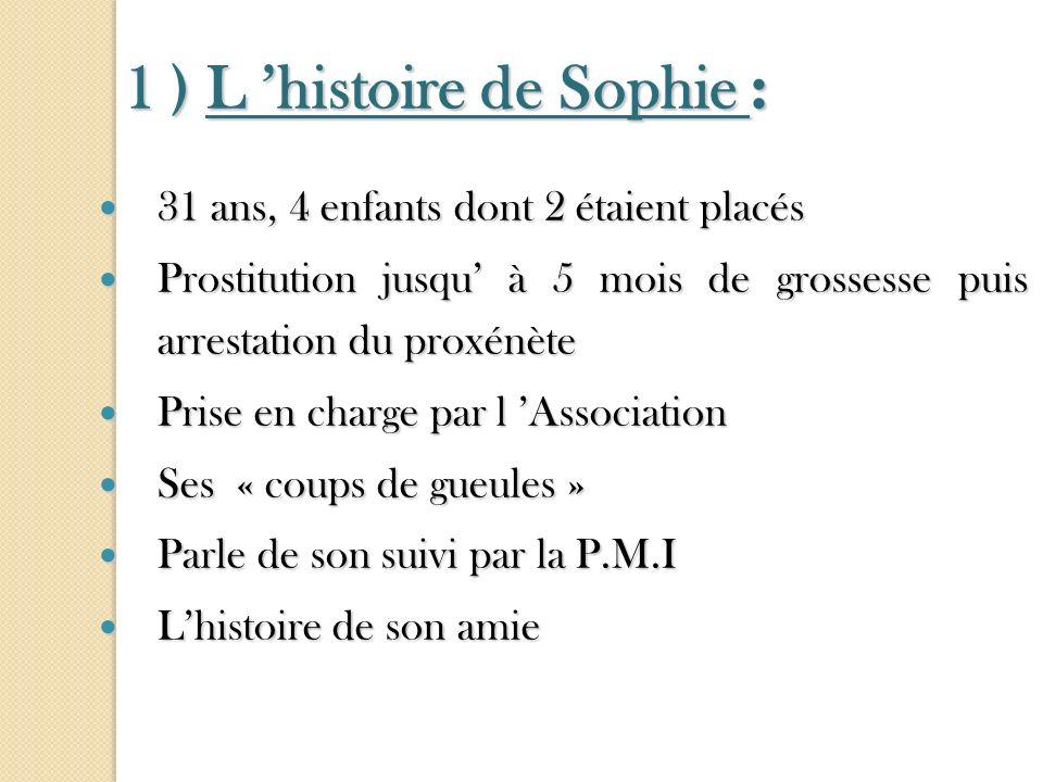 1 ) L histoire de Sophie : 1 ) L histoire de Sophie : 31 ans, 4 enfants dont 2 étaient placés 31 ans, 4 enfants dont 2 étaient placés Prostitution jus