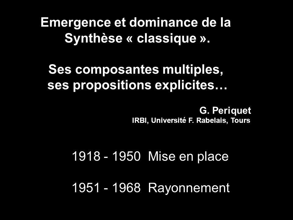 Charles Darwin 1809-1882 Variation >> Hérédité Sélection >> in natura Espèces >> Spéciation Hasard >> Mutations Temps >> Durée paléontologique Embryologie Comportement (altruisme, émotions…) …