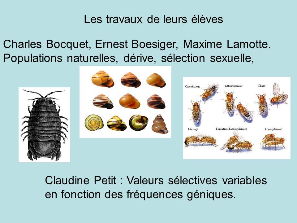 Charles Bocquet, Ernest Boesiger, Maxime Lamotte. Populations naturelles, dérive, sélection sexuelle, Les travaux de leurs élèves Claudine Petit : Val