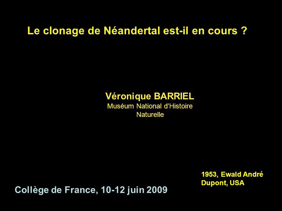 Le clonage de Néandertal est-il en cours ? Véronique BARRIEL Muséum National dHistoire Naturelle Collège de France, 10-12 juin 2009 1953, Ewald André