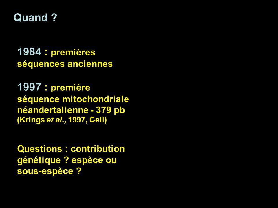 Quand ? 1984 : premières séquences anciennes 1997 : première séquence mitochondriale néandertalienne - 379 pb (Krings et al., 1997, Cell) Questions :