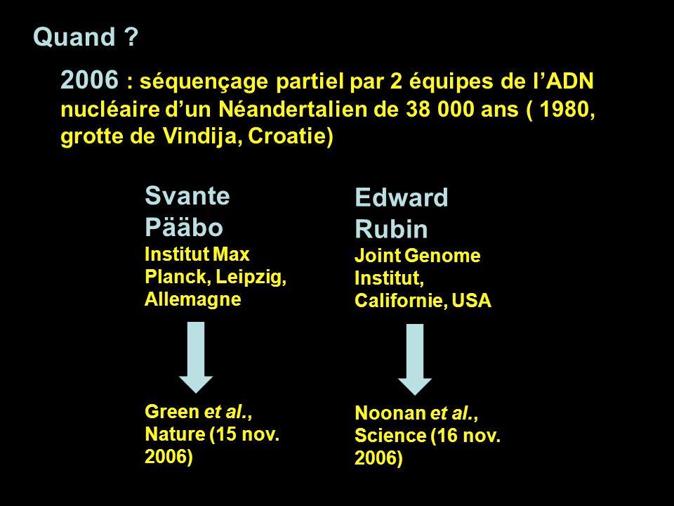 Quand ? 2006 : séquençage partiel par 2 équipes de lADN nucléaire dun Néandertalien de 38 000 ans ( 1980, grotte de Vindija, Croatie) Svante Pääbo Ins
