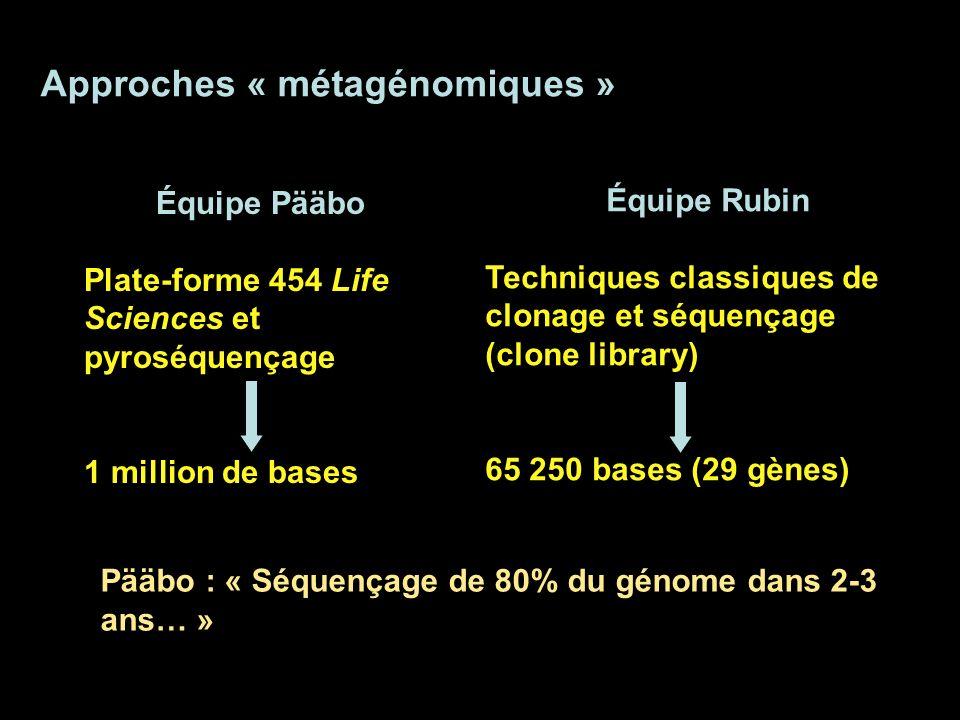 Approches « métagénomiques » Pääbo : « Séquençage de 80% du génome dans 2-3 ans… » Équipe Pääbo Plate-forme 454 Life Sciences et pyroséquençage 1 mill