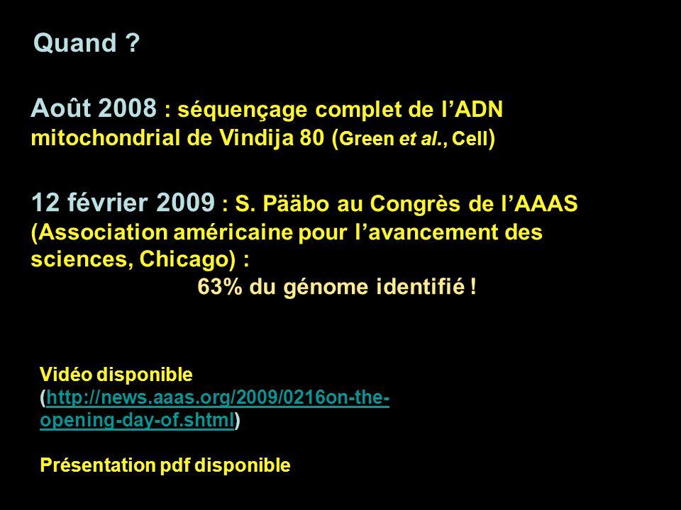 Quand ? Août 2008 : séquençage complet de lADN mitochondrial de Vindija 80 ( Green et al., Cell ) 12 février 2009 : S. Pääbo au Congrès de lAAAS (Asso