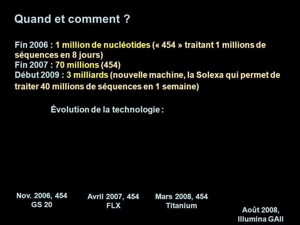 Quand et comment ? Fin 2006 : 1 million de nucléotides (« 454 » traitant 1 millions de séquences en 8 jours) Fin 2007 : 70 millions (454) Début 2009 :