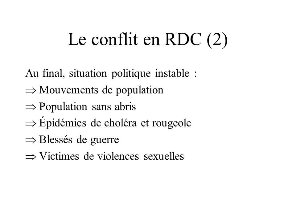 Le conflit en RDC (2) Au final, situation politique instable : Mouvements de population Population sans abris Épidémies de choléra et rougeole Blessés de guerre Victimes de violences sexuelles