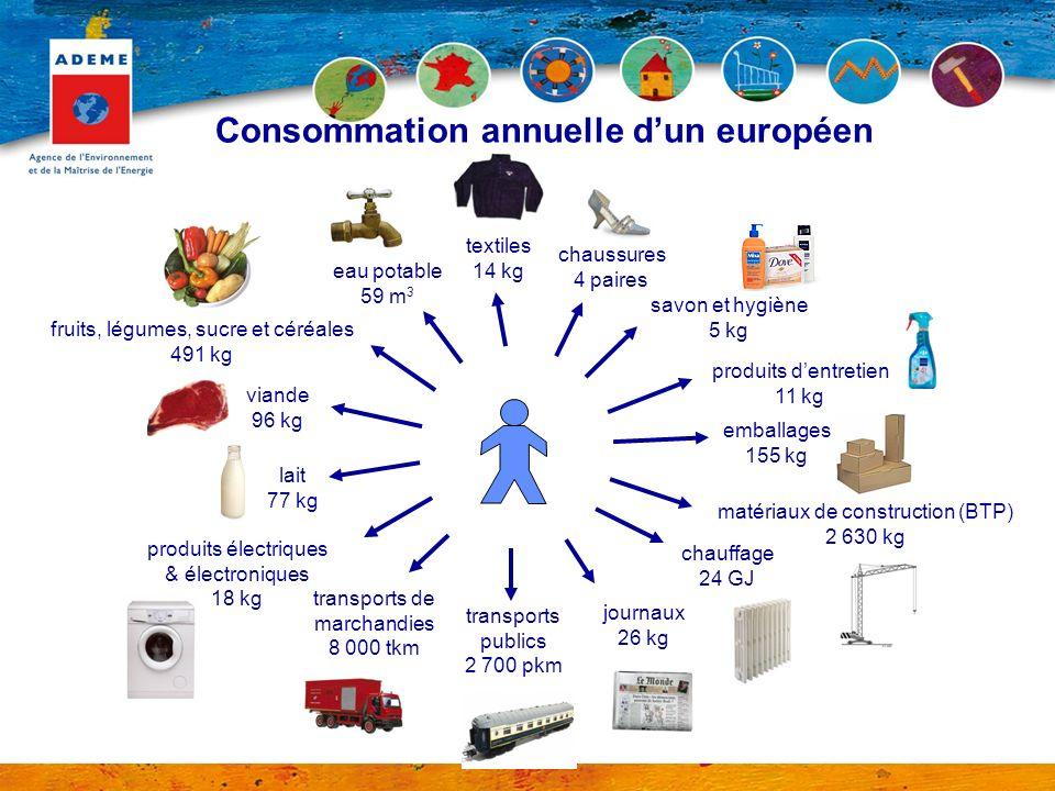 Consommation annuelle dun européen chaussures 4 paires savon et hygiène 5 kg produits dentretien 11 kg matériaux de construction (BTP) 2 630 kg chauff