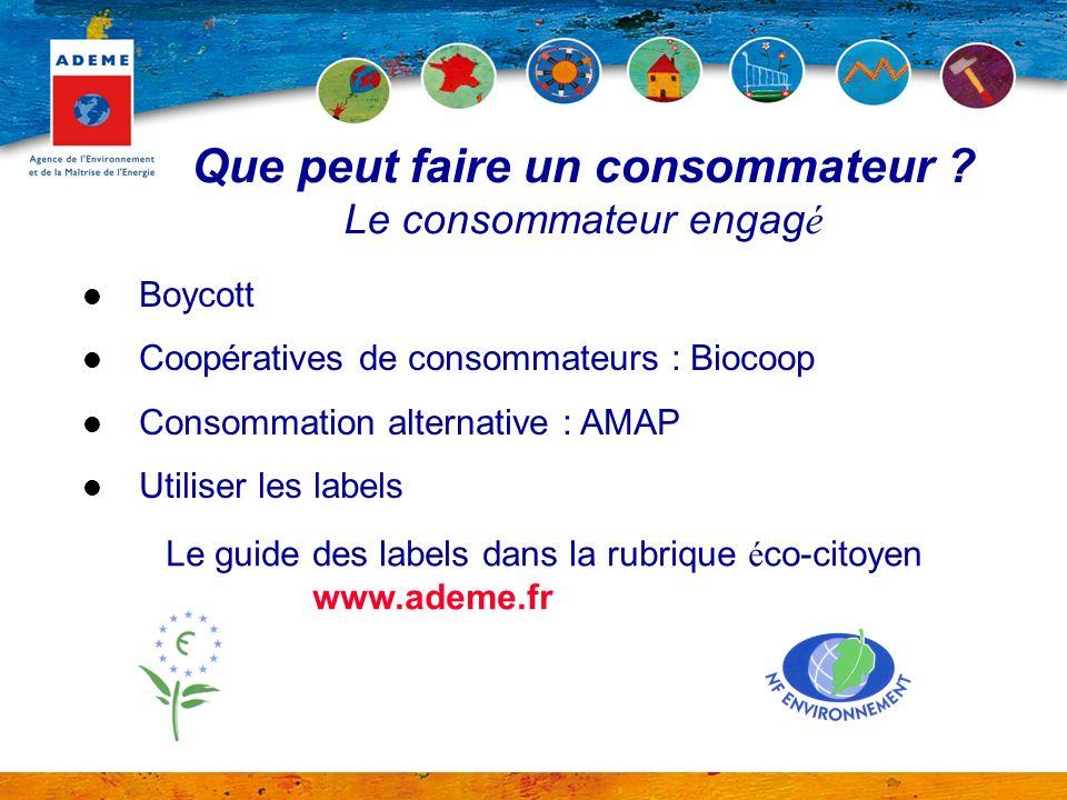 Que peut faire un consommateur ? Le consommateur engag é Boycott Coopératives de consommateurs : Biocoop Consommation alternative : AMAP Utiliser les