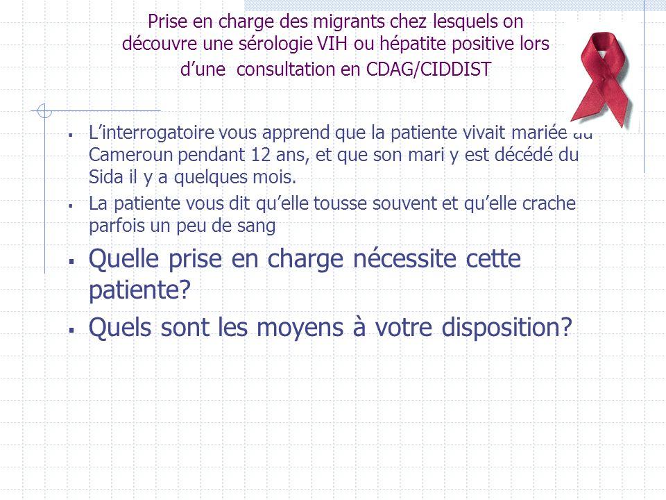 Prise en charge des migrants chez lesquels on découvre une sérologie VIH ou hépatite positive lors dune consultation en CDAG/CIDDIST Rôle médecin CDAG/CIDDIST: Levée anonymat, contrôle sérologie VIH.