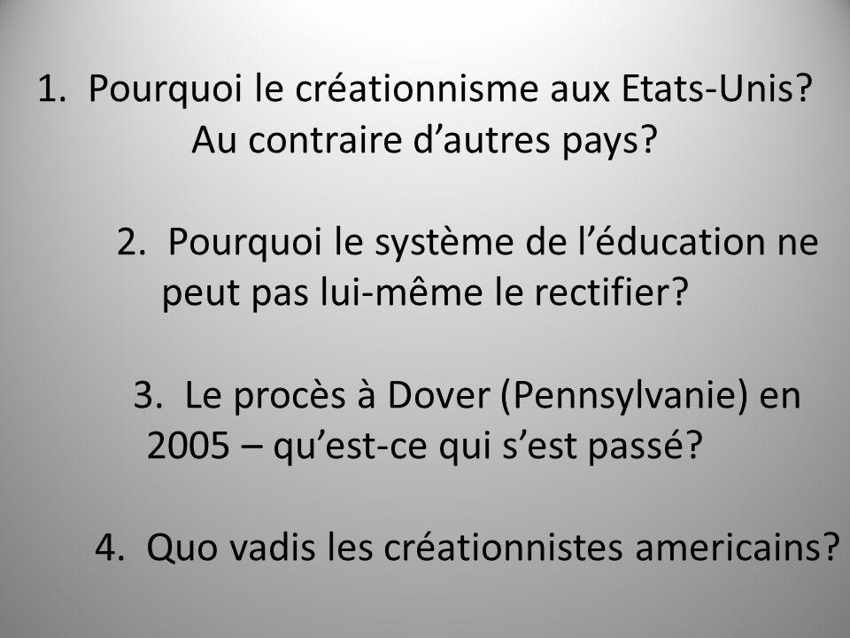 1. Pourquoi le créationnisme aux Etats-Unis. Au contraire dautres pays.