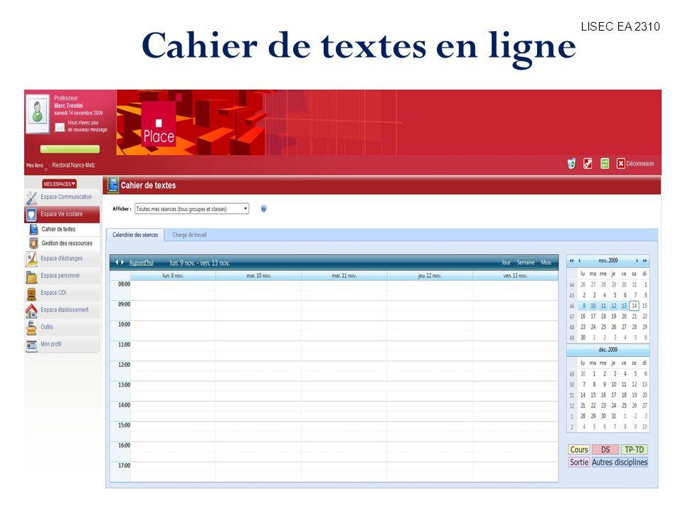 LISEC EA 2310 Cahier de textes en ligne