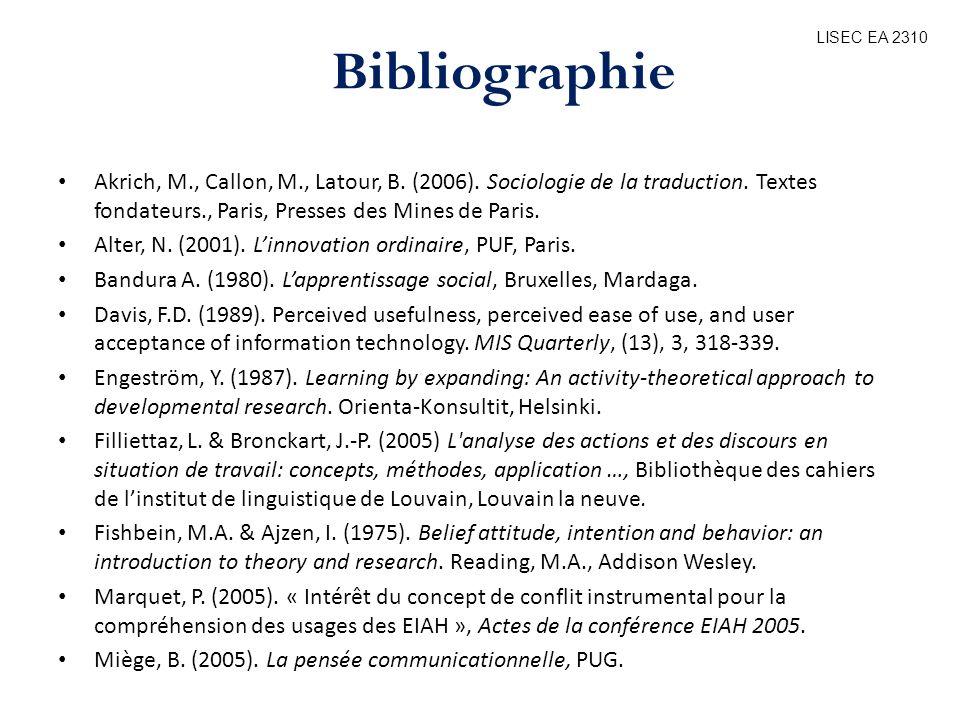 Akrich, M., Callon, M., Latour, B. (2006). Sociologie de la traduction. Textes fondateurs., Paris, Presses des Mines de Paris. Alter, N. (2001). Linno