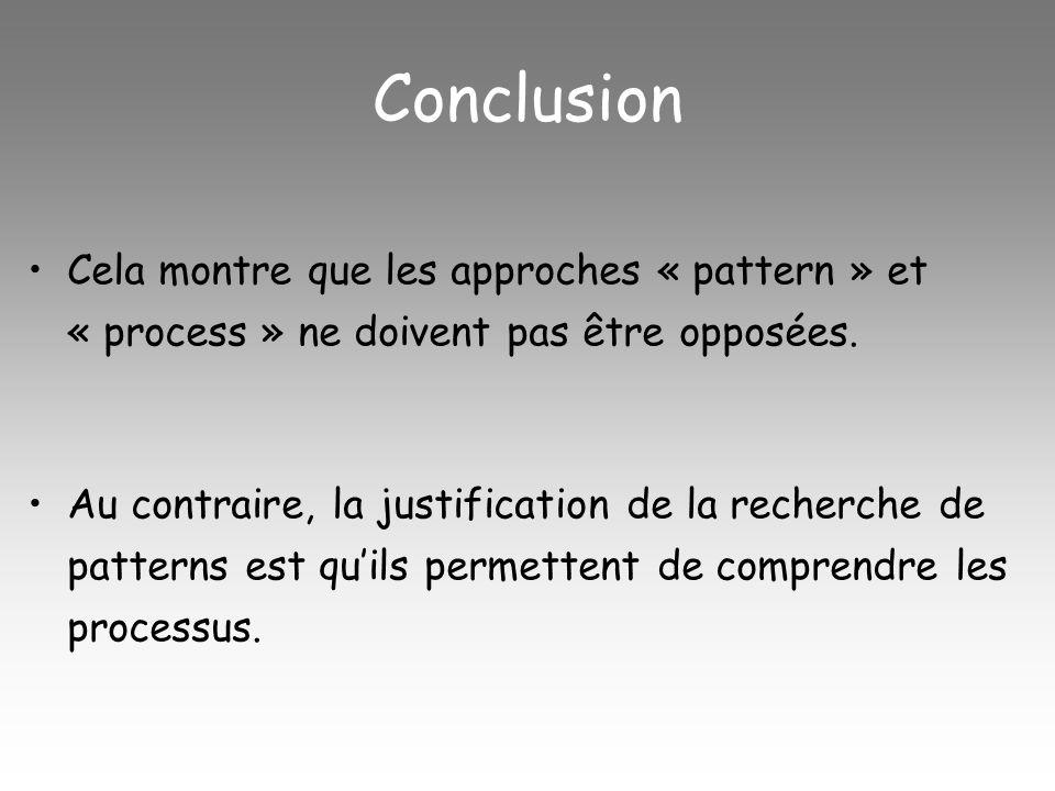 Conclusion Cela montre que les approches « pattern » et « process » ne doivent pas être opposées.