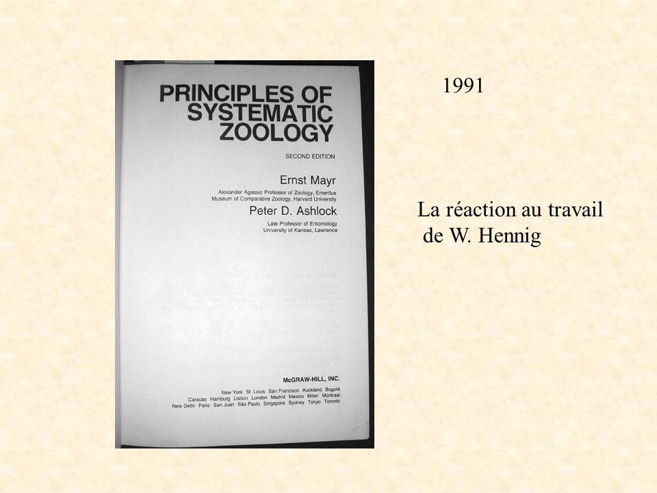 Mayr Ashlock 91 titre La réaction au travail de W. Hennig 1991