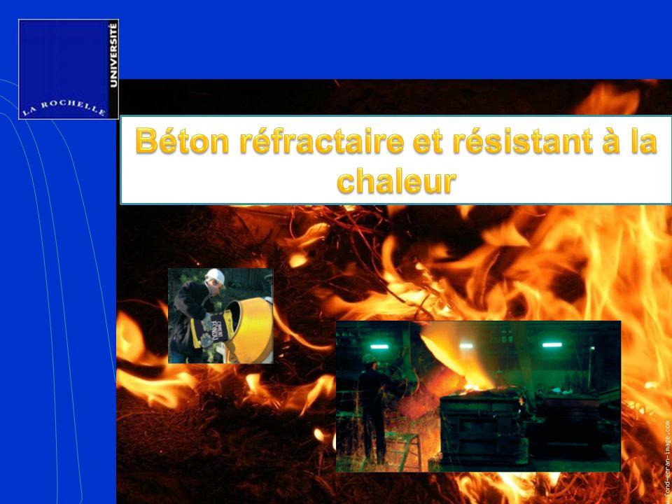 1- Le ciment fondu 2- Les granulats ALAG 3- Mise en oeuvre 4- Exemples dutilisations 5- Optimisation fibres SIKA CONCLUSION Employer du granulat de type Alag (au lieu du granulat siliceux) pour réduire léclatement et augmenter la résistance au feu, Afin de réduire leffritement, utiliser du granulat de poids normal (au lieu du granulat léger), Employer du ciment fondu (au lieu du ciment classique) pour augmenter la résistance au feu, Ajouter des fibres de polypropylène de type SIKA au mélange pour diminuer léclatement, Béton réfractaire et résistant à la chaleur