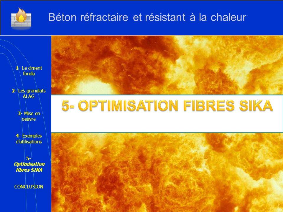 1- Le ciment fondu 2- Les granulats ALAG 3- Mise en oeuvre 4- Exemples dutilisations 5- Optimisation fibres SIKA CONCLUSION Béton réfractaire et résis