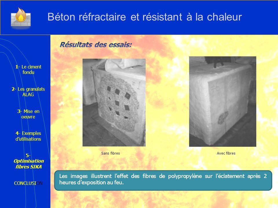 Sans fibres Avec fibres 1- Le ciment fondu 2- Les granulats ALAG 3- Mise en oeuvre 4- Exemples dutilisations 5- Optimisation fibres SIKA CONCLUSION Le