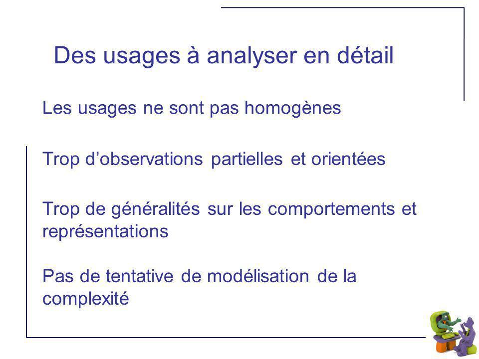 Des usages à analyser en détail Les usages ne sont pas homogènes Trop de généralités sur les comportements et représentations Pas de tentative de modélisation de la complexité Trop dobservations partielles et orientées