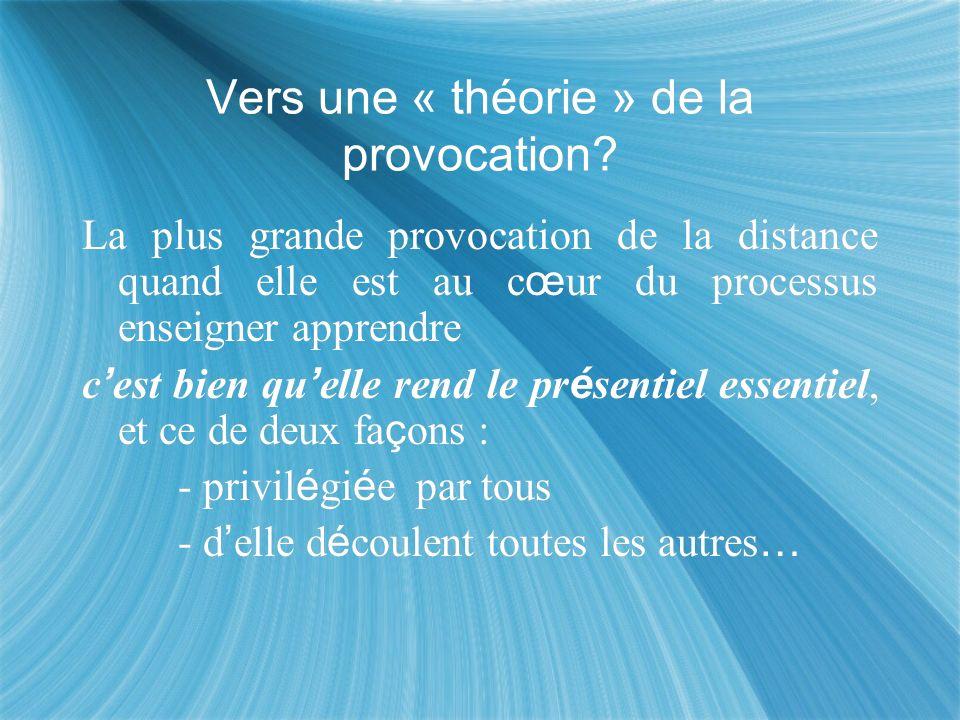 Vers une « théorie » de la provocation? La plus grande provocation de la distance quand elle est au c œ ur du processus enseigner apprendre c est bien