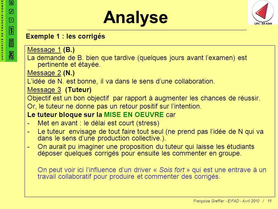 Françoise Greffier - EIFAD - Avril 2010 /11 Message 1 (B.) La demande de B. bien que tardive (quelques jours avant lexamen) est pertinente et étayée.
