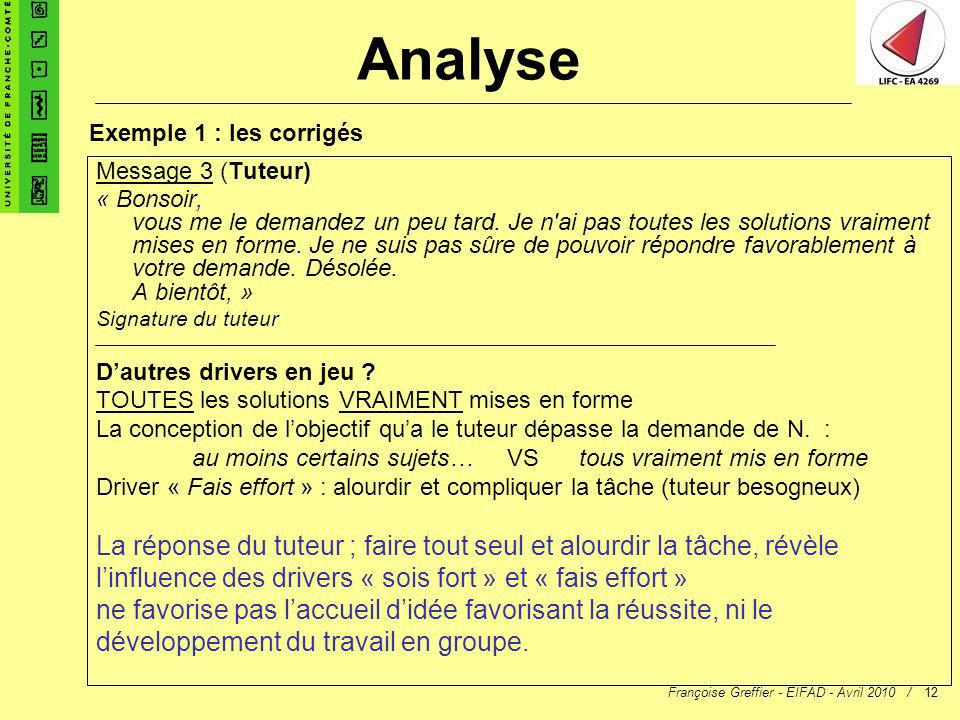Françoise Greffier - EIFAD - Avril 2010 /12 Message 3 (Tuteur) « Bonsoir, vous me le demandez un peu tard. Je n'ai pas toutes les solutions vraiment m