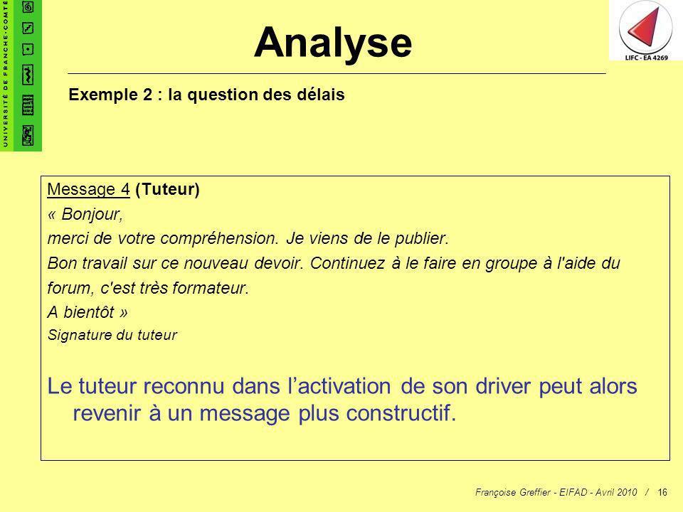 Françoise Greffier - EIFAD - Avril 2010 /16 Message 4 (Tuteur) « Bonjour, merci de votre compréhension. Je viens de le publier. Bon travail sur ce nou