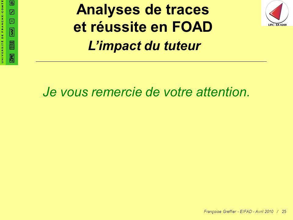 Françoise Greffier - EIFAD - Avril 2010 /25 Analyses de traces et réussite en FOAD Limpact du tuteur Je vous remercie de votre attention.