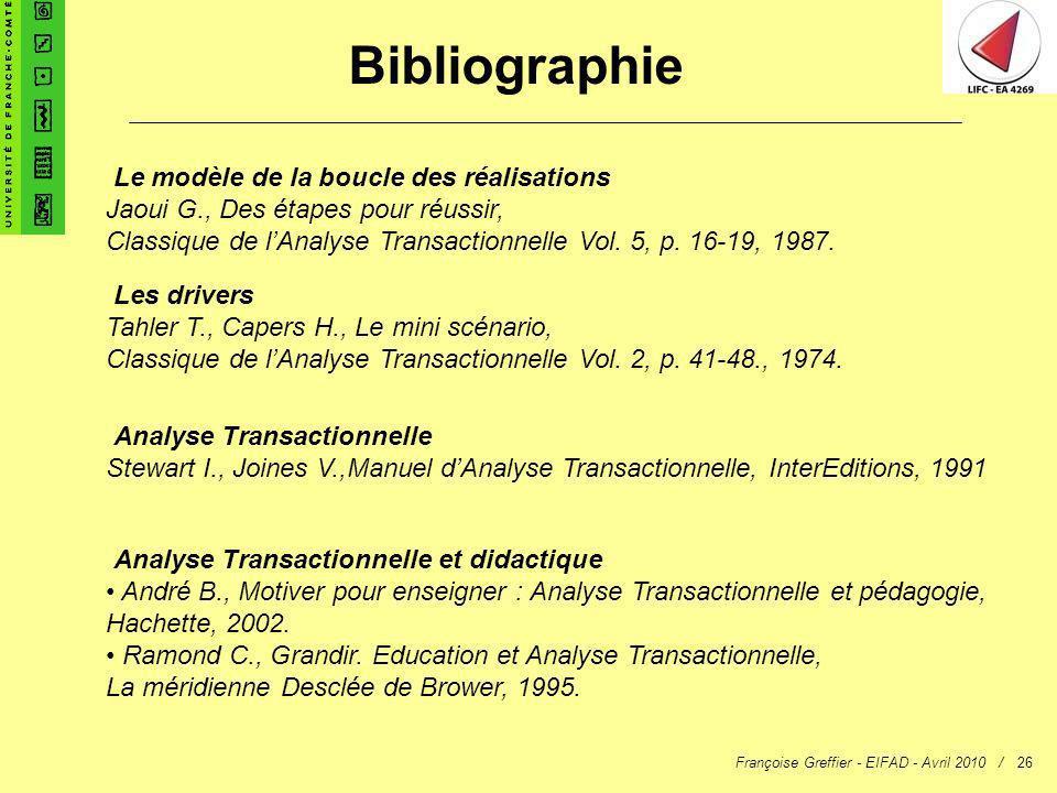 Françoise Greffier - EIFAD - Avril 2010 /26 Bibliographie Le modèle de la boucle des réalisations Jaoui G., Des étapes pour réussir, Classique de lAna