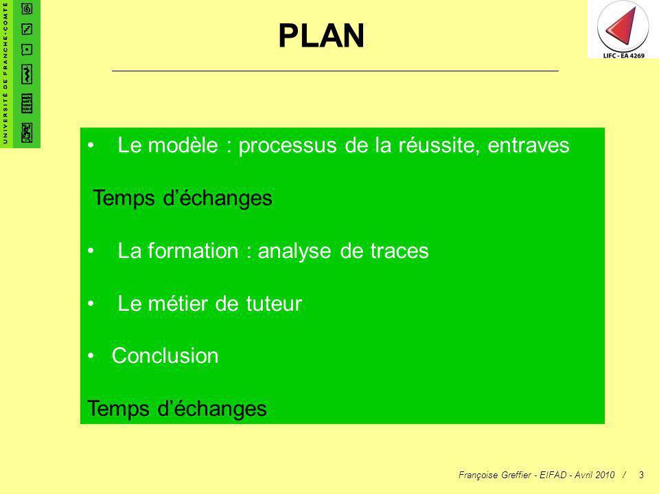 Françoise Greffier - EIFAD - Avril 2010 /3 PLAN Le modèle : processus de la réussite, entraves Temps déchanges La formation : analyse de traces Le mét