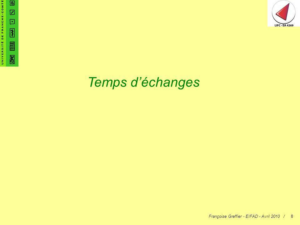 Françoise Greffier - EIFAD - Avril 2010 /8 Temps déchanges