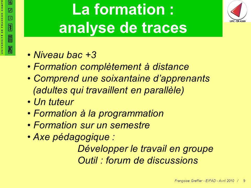 Françoise Greffier - EIFAD - Avril 2010 /9 La formation : analyse de traces Niveau bac +3 Formation complètement à distance Comprend une soixantaine d