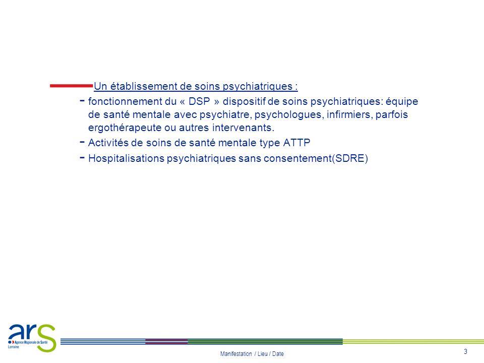 3 Manifestation / Lieu / Date Un établissement de soins psychiatriques : - fonctionnement du « DSP » dispositif de soins psychiatriques: équipe de san