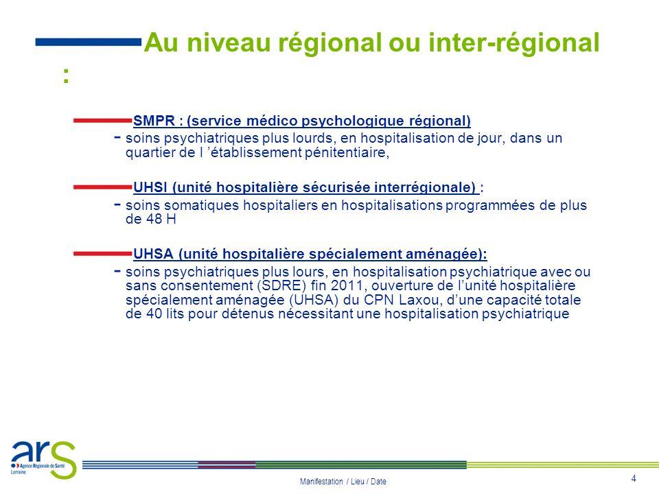 4 Manifestation / Lieu / Date Au niveau régional ou inter-régional : SMPR : (service médico psychologique régional) - soins psychiatriques plus lourds