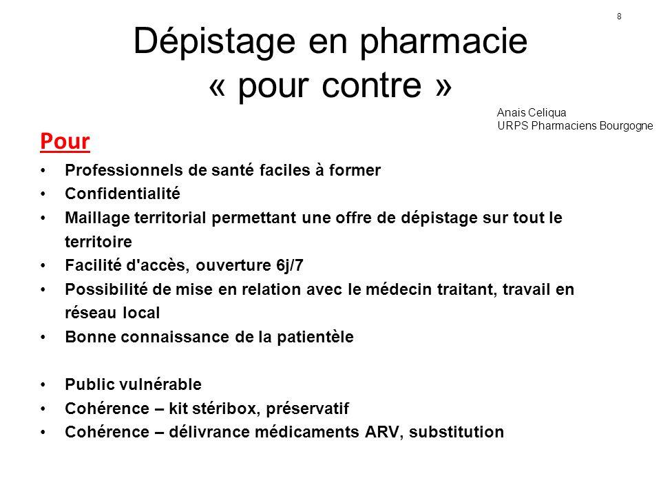 8 Dépistage en pharmacie « pour contre » Pour Professionnels de santé faciles à former Confidentialité Maillage territorial permettant une offre de dé