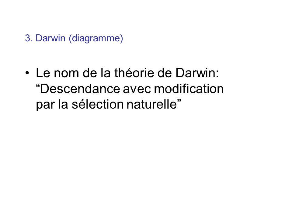 Le nom de la théorie de Darwin: Descendance avec modification par la sélection naturelle